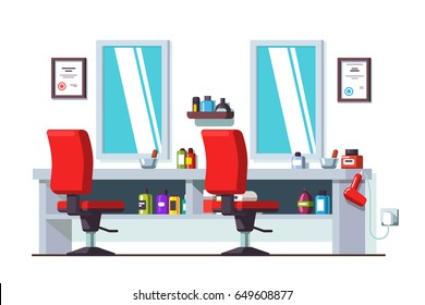 Modern barber shop interior design with chairs, mirrors, shelves and hair dryer. Man beauty hairdressing salon decoration and furniture. Flat style vector illustration isolated on white background.