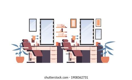 Moderner Friseur leer auf Menschen Schönheitssalon Innen horizontale einzelne Vektorgrafik