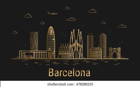 Modern Barcelona city line art, golden architecture vector illustration, skyline city, all famous buildings.
