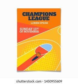 Modern basketball poster template with sample text and background arena