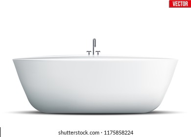 Modern bath isolated on white background. Element for design bathroom. Vector Illustration
