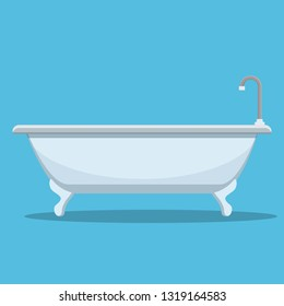 Modern bath isolated on white background. Element for design bathroom. Vector illustration in flat style