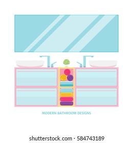 Modern bathroom interior design. Vector illustration