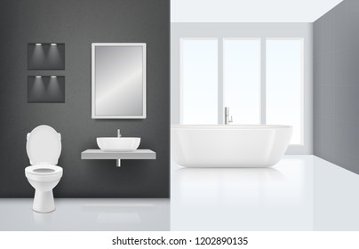 Modern bathroom interior. Toilet sink washing cabin in fresh and white bath luxury stylish interior. Vector realistic clean background. Interior of bathroom with toilet and sink illustration