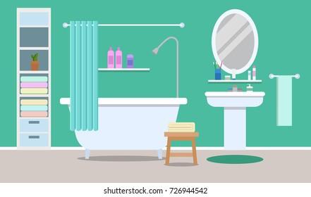 Modern Bathroom Interior Tub Flat Style Stock Illustration