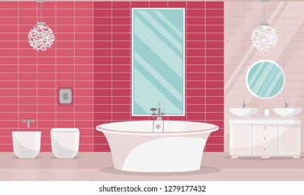 Modern bathroom interior with tub. Bathroom furniture - bath, stand with two sinks, shelf with towels, liquid soap, shampoo, large vertical mirror. Pink washroom. Flat cartoon vector illustration