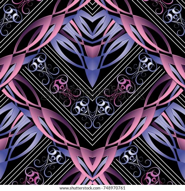 modern beautiful 3d seamless pattern 600w 748970761