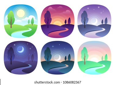 Modern beautiful landscape with gradients. Sunrise, dawn, morning, day, noon, sunset, dusk and night icon. Sun time vector icons set. Nature landscapes at different day times