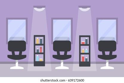 Modern beauty salon interior, flat style vector illustration.