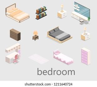 modern bedroom design in isometric style. Flat 3D illustration