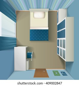 Modern bedroom interior design with queen size bed and white single wardrobe top view realistic  vector illustration