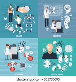 Modern bionics template with different achievements of medical technologies in flat style vector illustration