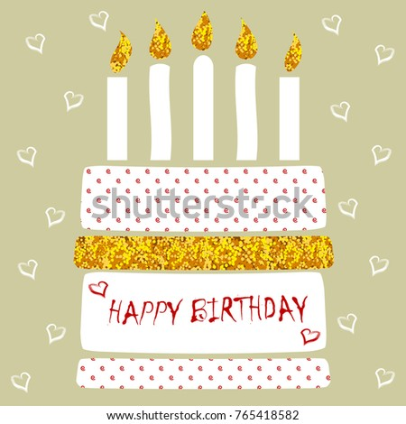 Modern Birthday Card Special Birthday Cake Stock Vector Royalty