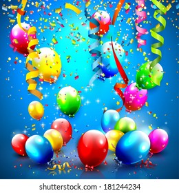 Modern Birthday greeting card with confetti and balloons