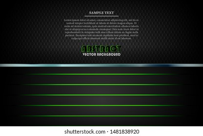 Modern black abstract background vector on dark space with metallic frame layout tech design template. Overlap layers 3D effect with green light decoration