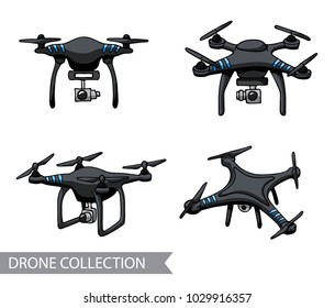 Modern black air drone, quadrocopter, remote control drone with camera isolated. Flat cartoon vector illustration. Hand drawn doodle. Outline