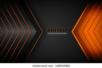 Modern black background vector on dark space with abstract style for design template. Overlap layers 3D effect with orange light decoration.