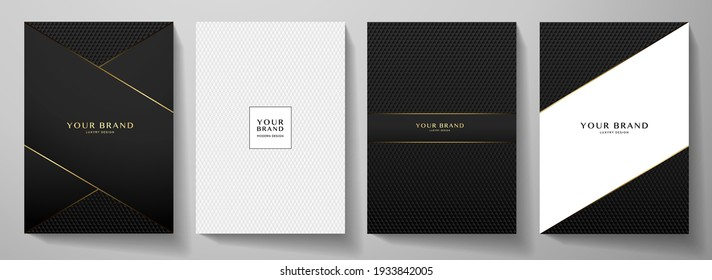 Modern black cover design set. Creative abstract with diagonal line, carbon pattern (triangle texture) on background. Premium vector collection for catalog, brochure template, magazine layout, booklet