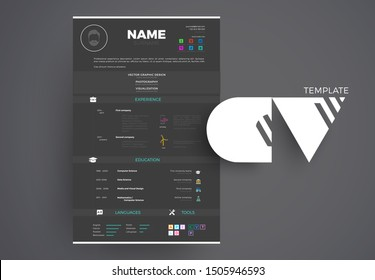 Modern Black CV example design, resume vector template dark minimalistic creative style