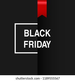 Modern Black Friday Sale banner text with red ribbon and frame