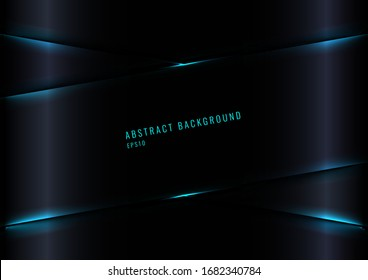 Modern Black Glossy Gradient Color Background with Blue Laser Lighting Effect. Vector Illustration