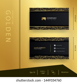 Modern black golden business card with luxury style . clean and elegant template