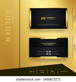 Modern black golden business card with luxury style and elegant template