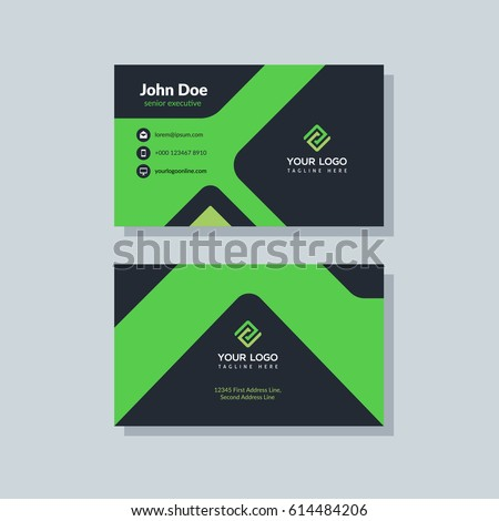 Modern black green business card template stock vector royalty free modern black and green business card template in flat design abstract background personal plain friedricerecipe Images