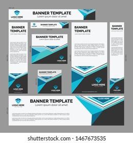 Modern Black Grey Blue Aqua Web Banner Bundle