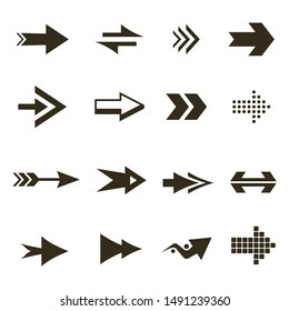 Modern black icons and logos set of arrows