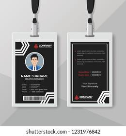 Modern black ID card design template
