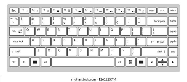 Modern black keyboard of laptop isolated on white background