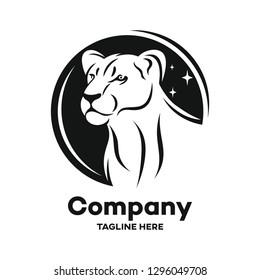 Modern black lioness logo