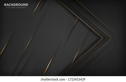 Modern black luxury background with golden line and shiny golden light.