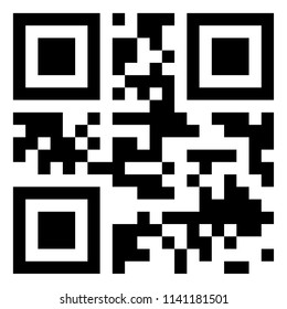 Modern black QR code on white background for scanning with mobile phone.