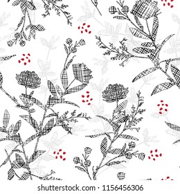 Modern black  Silhouette flowers with hand drawn sketch line check fill-in pattern inside,Seamless pattern vector for fashion ,fabric and all prints on white  background color.