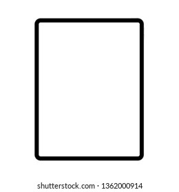 Modern black tablet computer with blank screen isolated on white background. Vector illustration