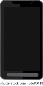 Modern black touch screen vector cell phone isolated on white background - Original design