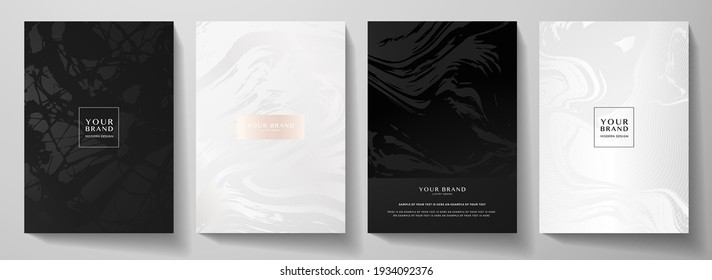 Modern black, white cover design set. Creative fashionable background with abstract marble pattern, crack. Luxury trendy vector collection for catalog, brochure template, magazine layout, booklet