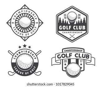 Modern Black And White Golf Badge Logo Illustration Set