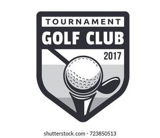 Modern Black And White Golf Badge Logo Illustration