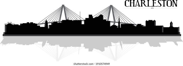 Modern black, white and gray illustration of the city of Charleston South Carolina downtown buildings skyline silhouette with bridge in background and shadow reflection. Illustrator eps vector design.