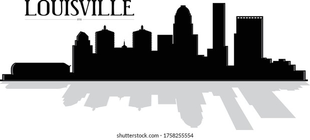 Modern black and white illustration of the city of Louisville Kentucky downtown buildings skyline silhouette shadow with reflection illustrator 10 eps vector graphic design