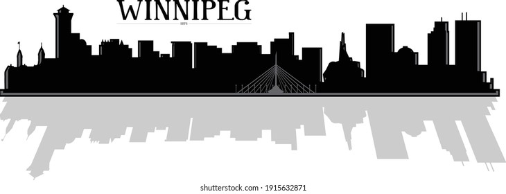 Modern black and white illustration of the city of Winnipeg Manitoba Canada downtown skyline silhouette with bridge and buildings in the background and shadow reflection. Illustrator eps vector art.