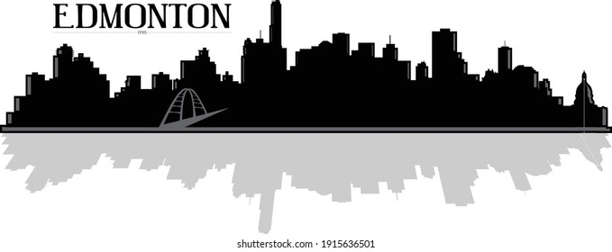 Modern black and white illustration of the city of Edmonton Alberta Canada downtown buildings skyline silhouette with bridge and shadow reflection. Illustrator eps vector graphic design.
