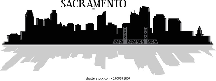 Modern black and white illustration of the state capital city of Sacramento California downtown buildings skyline silhouette with bridge and shadow reflection. Illustrator eps vector graphic design.