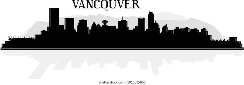 Modern black and white illustration of Vancouver British Columbia Canada downtown skyline buildings silhouette with mountains in background and reflection in water. Illustrator eps vector graphic.