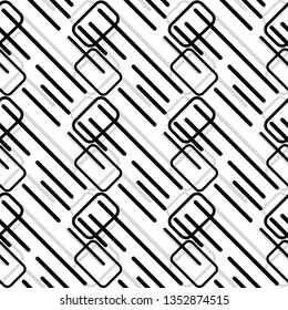 Modern Black and white layered geometrical seamless pattern tile with rectangles and lines in a cool futuristic design for surface design templates, textile, fabric, wallpaper, backdrop, backgrounds