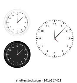 Modern black, white and silhouette clock icon set