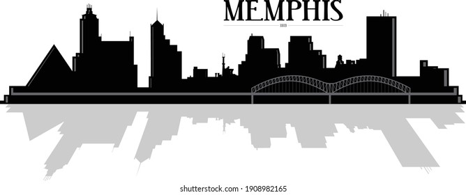 Modern black and white silhouette Illustration of downtown buildings in Memphis Tennessee with bridge and shadow reflection in water. Illustrator eps vector graphic design.